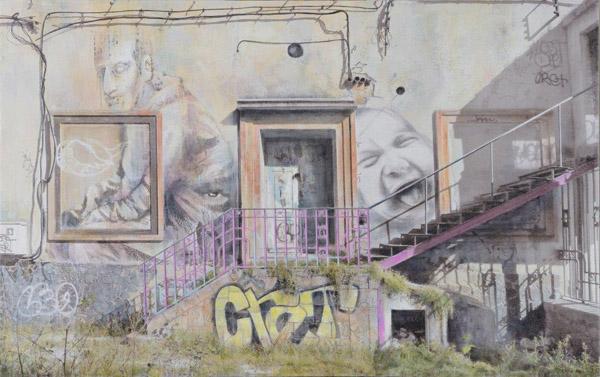Grafitis en Segovia t.mixta 73x116 cm 2013