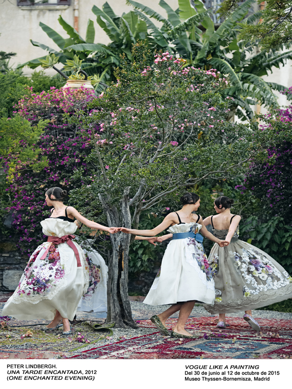 RING AROUND THE ROSESDolce & Gabbana Alta Moda hand-painted dresses with appliquéd silk flowers, worn over 1940s-style black brassieres, and flats.