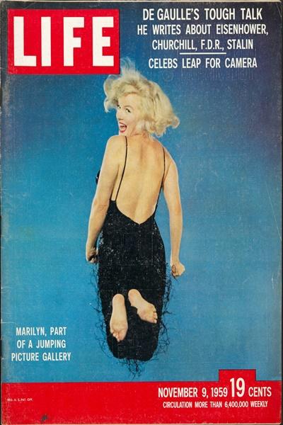 Portada de LIFE con el «salto» de Marilyn Monroe. 9 de noviembre, 1959. Musée de l'Elysée © 2016 Philippe Halsman Archive / Magnum Photos