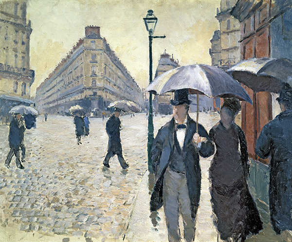 MMT26053 Sketch for 'Paris, a Rainy Day', 1877 (oil on canvas), pre-restoration (see 181504) by Caillebotte, Gustave (1848-94); 54x65 cm; Musee Marmottan Monet, Paris, France; (add.info.: Rue de Paris, Temps de Pluie;); Giraudon; French,  out of copyright